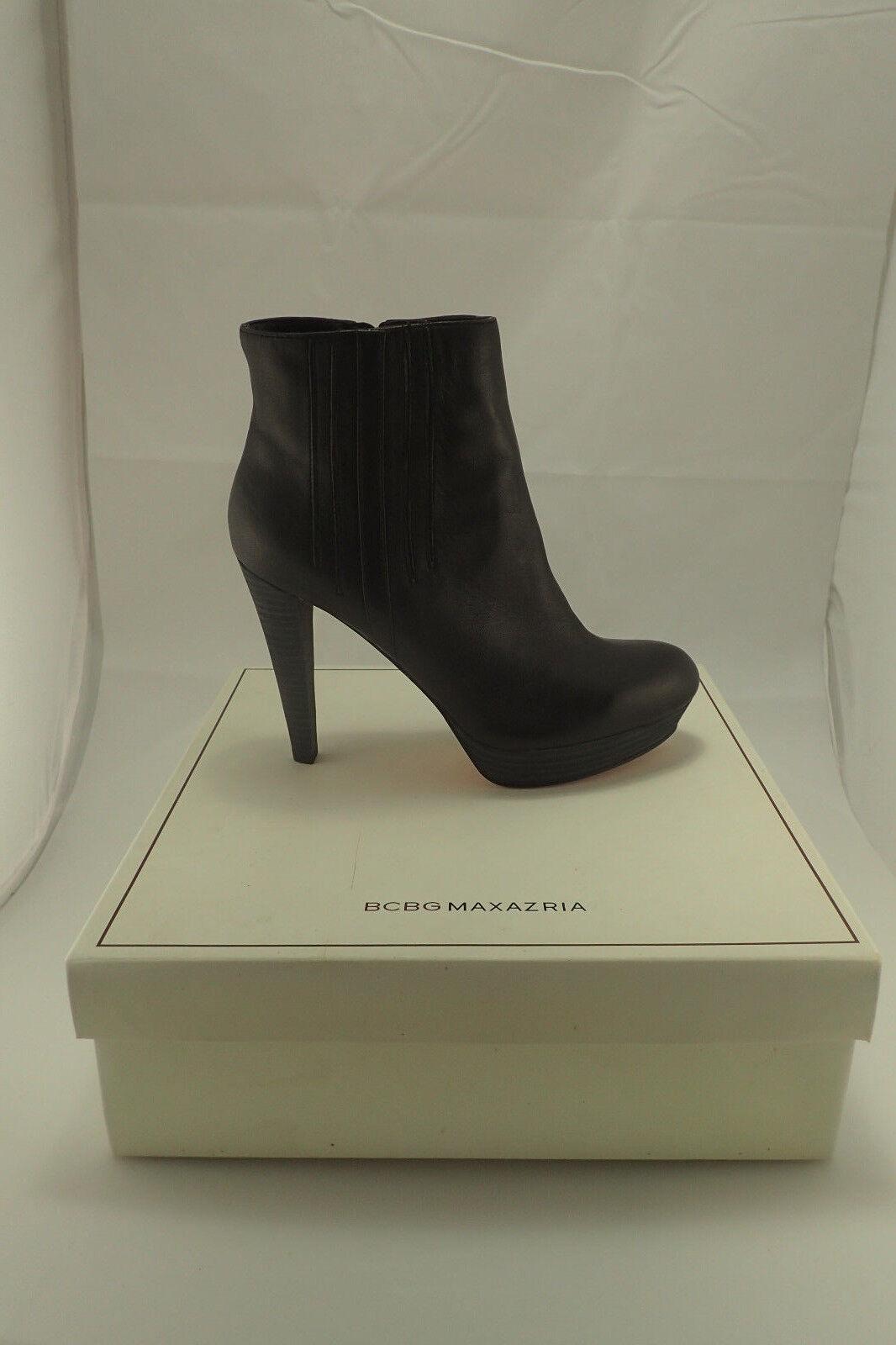 NIB BCBG Max Azria Henley Black Leather Bootie High Heels size. 9.5 FREE GIFT