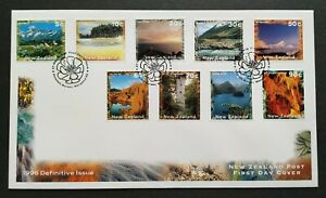 1996-New-Zealand-Nature-Mountain-Lake-Scenic-Definitive-Issue-9v-Stamps-FDC