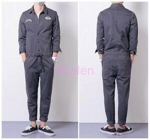Details about Men s Jumpsuits Cargo Cotton One-Piece Long Sleeve Pants  Casual Trousers Clothes 4facdbcd88f