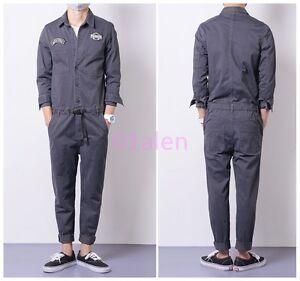 Details about Men s Jumpsuits Cargo Cotton One-Piece Long Sleeve Pants  Casual Trousers Clothes a232ec44e97