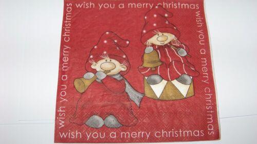 3 Servietten Weihnachten Nisser wish you a merry Christmas  Napkins