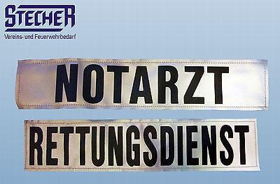 Rückenschild für Rettungsdienstbekleidung NOTARZT & RETTUNGSDIENST silber