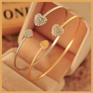 2015 Women Fashion Style Gold Rhinestone Love Heart Bangle Cuff Bracelet Jewelry