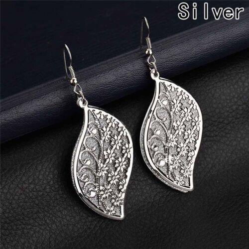 Indien Barock Art Hohles Blatt Blumen Glitter Silber Blenden Ohrringe Ohrschmuck