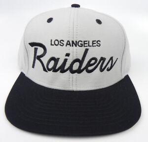 LOS-ANGELES-RAIDERS-NFL-VTG-2-TONE-SCRIPT-SNAPBACK-RETRO-CAP-HAT-NEW-LTGRAY-BLK