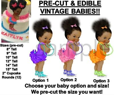 Pre-cut Bright Colors Ruffle Pants Afro Buns Babies Edible Cake Topper Image Bow Other Baking Accessories