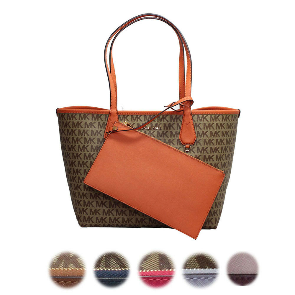 1899b271ef0db3 Michael Kors 2 in 1 Large Reversible Tote Signature Coated Canvas MK  Saffiano for sale online | eBay
