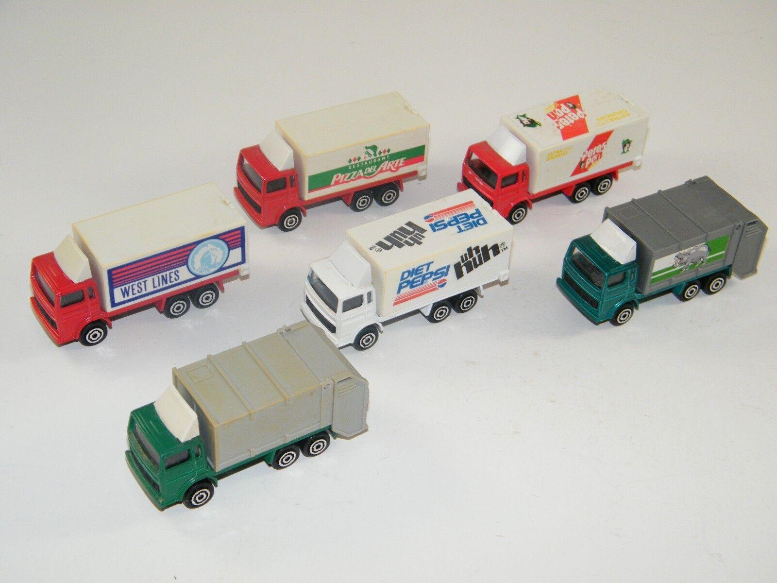 (6) Vintage  majorette Caja camiones de basura  Pepsi, Peter Pan, pizza, etc.
