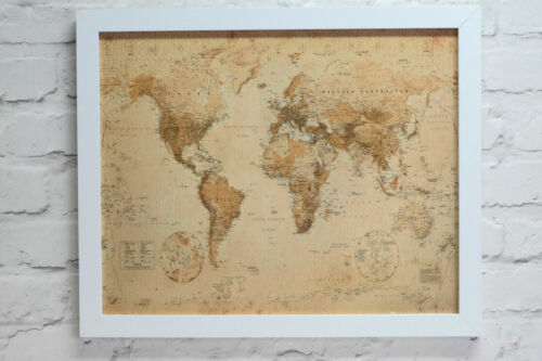 Magnetic Antique Style World Map Notice Board Includes Magnets