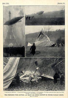 """Bilder & Fotos Ballonunfall Des Luftschiffes """"le Jaune"""" Bei Rekordversuch In Paris Von 1903 Good Heat Preservation"""