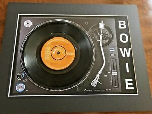 "David Bowie - Space Oddity- Genuine 7"" Single Mounted on Record Player Print"