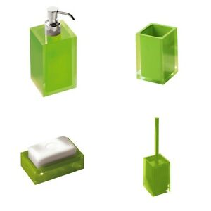 Set accessori da appoggio in resina verde rainbow gedy for Accessori bagno moderno