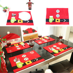 Christmas-Cute-Tableware-Ornaments-Snowman-Holiday-Party-Home-Decor-Santa-Xmas-G
