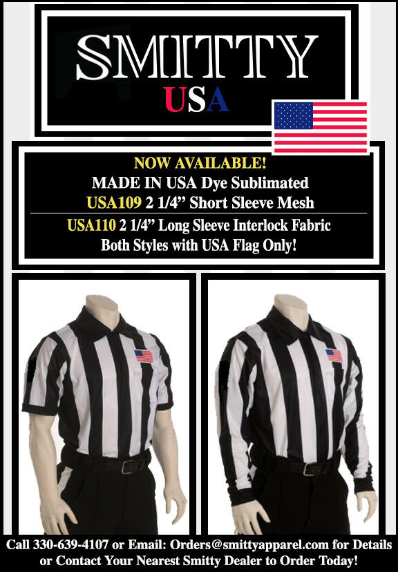 FOOTBALL REFEREE SMITTY LONG Sleeve Shirts, USA Flag Left Chest Size Med