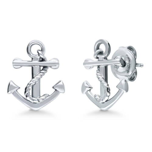 BERRICLE Sterling Silver Anchor Fashion Stud Earrings
