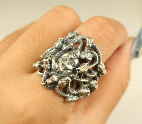 S925 Rare Solid silver Medusa beautiful snake girl friend ring Noble gift