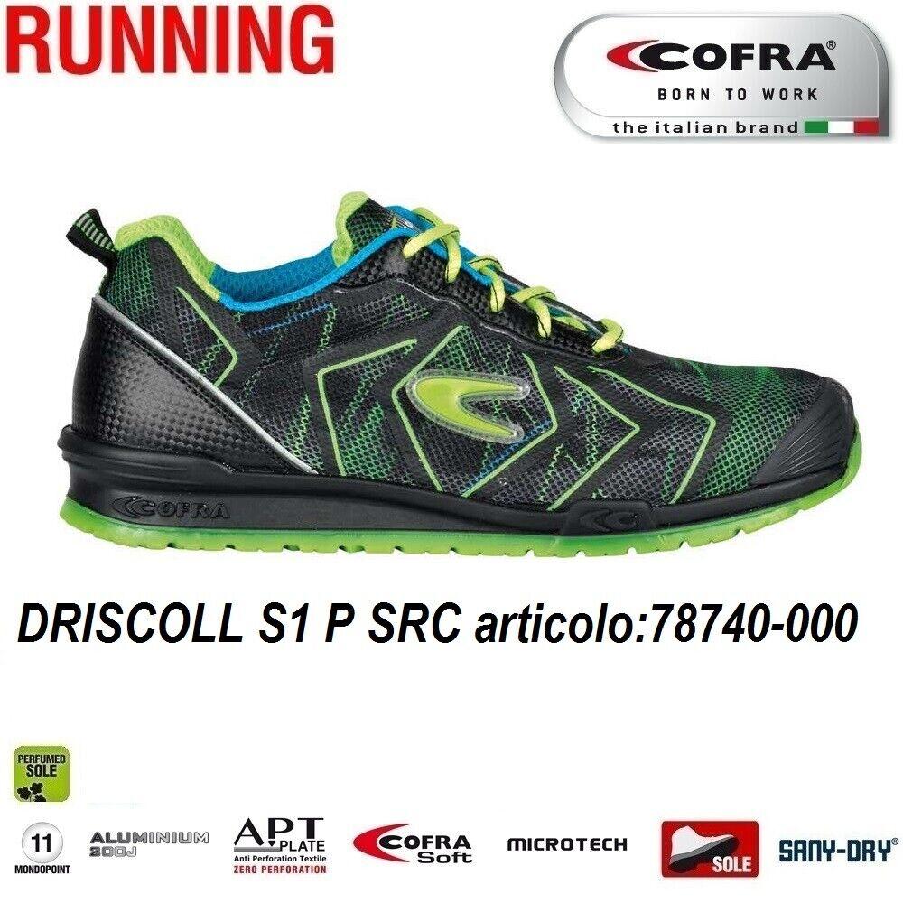 Scarpe Antinfortunistiche COFRA linea RUNNING modello DRISCOLL S1 P SRC scarpe lavoro tessuto altamente traspirante e MICROTECH , DGUV 112 191,