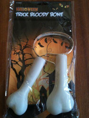 Caverna Uomo sanguinoso Zombie ossa attraverso il collo HALLOWEEN FANCY DRESS COSTUME SCHERZO