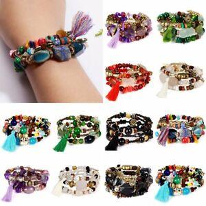 Charm-Multilayer-Stretch-Natural-Boho-Stone-Bracelet-Women-Tassel-Bangle-Jewelry
