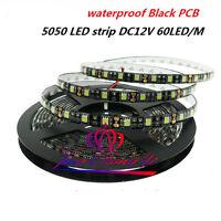 12v 5M 5050 Warm white LED 60led/m Strip light  Flexible Light Black PCB IP65