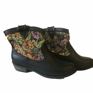 84bd444011c Ladies Womens Floral Pattern Ankle Boot Pull On Block Heel Black ...
