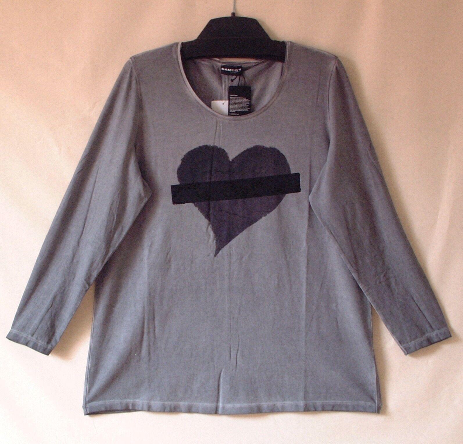 Samoon Shirt Gerry Weber Vintage Style Herzprint mit Pailletten grau Neu Gr.48