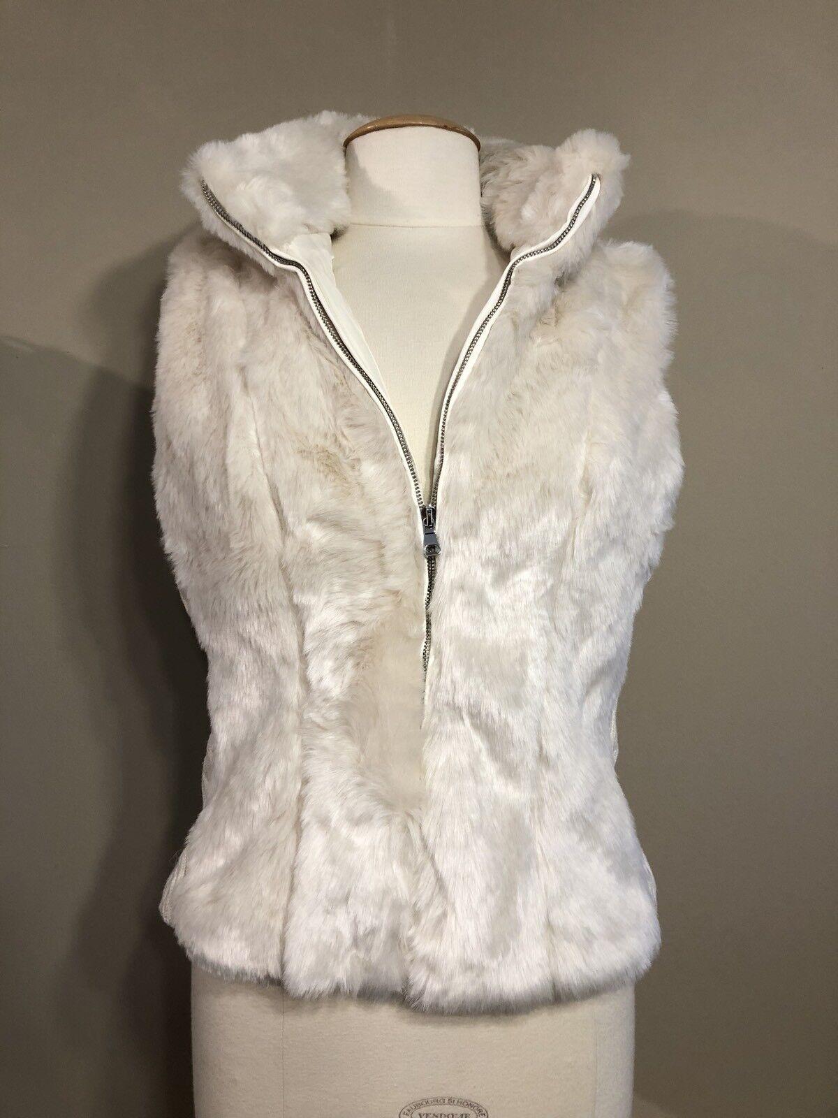 New Cavalini Off-White Faux Fur Sleeveless Vest Women Size PL Petite Large