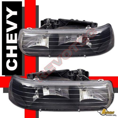 LED Tail Lights 99-02 Chevy Silverado 1500 2500 Black Headlights Bumper Signal
