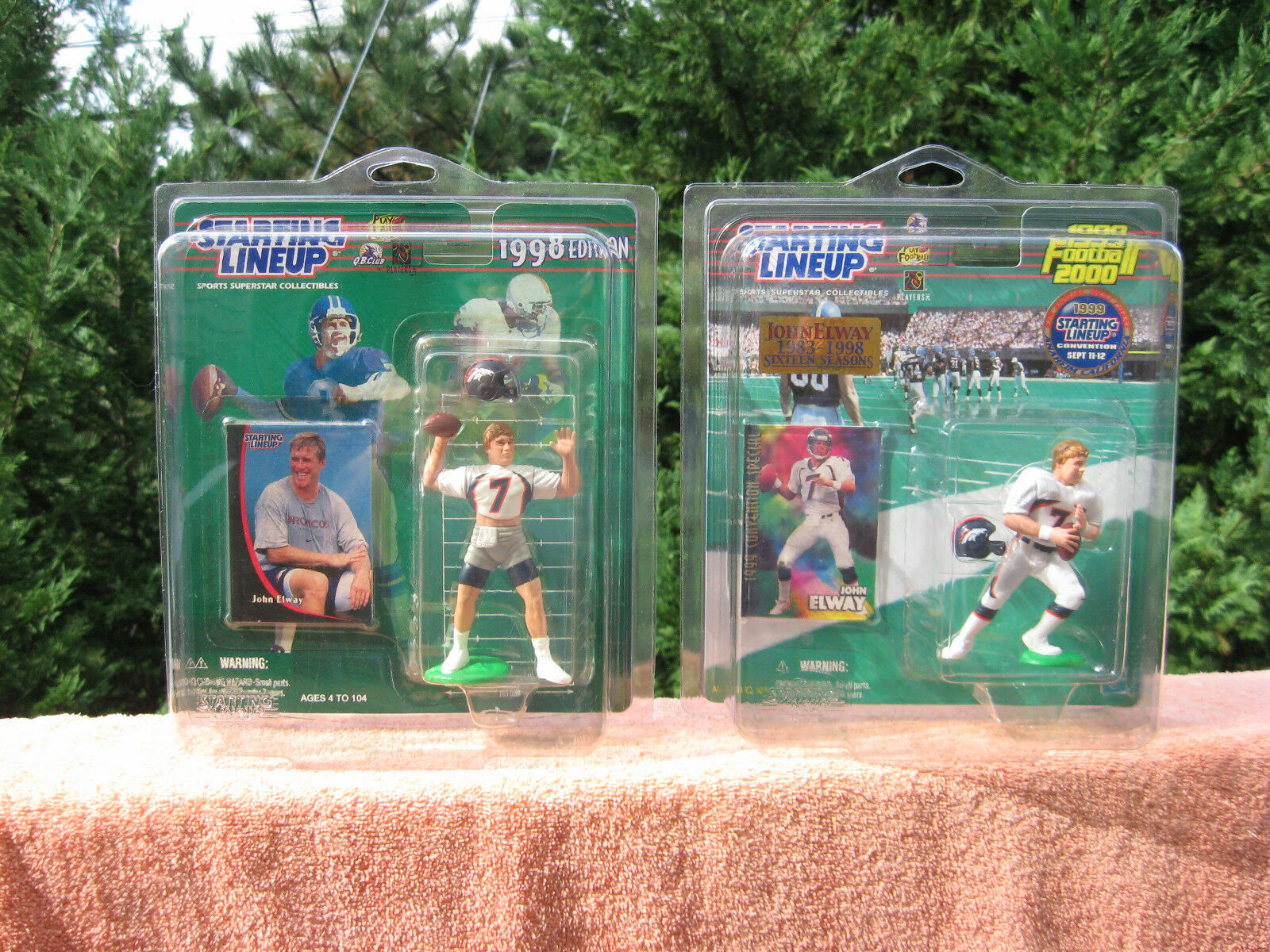 Lot of 2 Starting Lineup John Elway Action Figures 1998 &1999 In Pro Tech Cases
