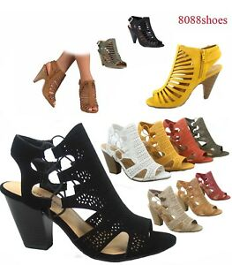 bf9fbb539fa582 Women s Fashion Summer Sexy Open Toe Chunky Heel Sandals Shoes Size ...