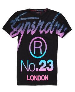 New Mens Superdry Big S Fade T-Shirt Black