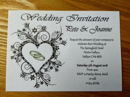 Personalised Wedding//Evening Invitation Cards Complete with Envelope pack of 10