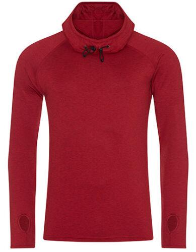 Herren Langarm Sport Shirt meliert Gr.S-XXL in 5 Farben mit Kapuze Kragen JC037