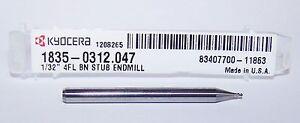 "1/32"" (.0312"") CARBIDE 4 FLUTE ENDMILLS, BALL END, STUB Kyocera Microtools"
