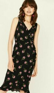 ex-Oasis-Wrap-Frilled-Summer-Dress-with-ties-Sleeveless-Black-Pink-Ditsy-Floral
