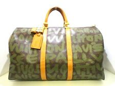 Authentic LOUIS VUITTON Monogram Graffiti Keepall 50 M92196 Vert Boston Bag