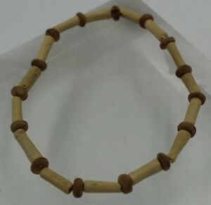 Vintage-Bracelet-7-034-Stretch-w-Small-amp-Tube-Shaped-Wooden-Beads