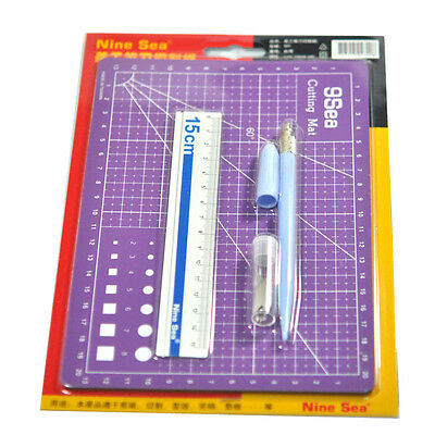 GJQG08 Carving Craft Knife Cutting Mat Aluminum Ruler Tool Accessories Set NEW