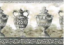 TUSCAN VASES CROWN MOULDING LATIN WORDS GRAY EDGE Wallpaper Wall bordeR Decor