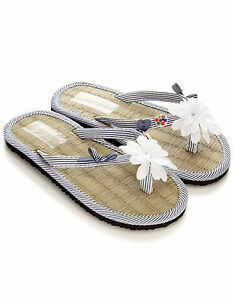 Ninas-Chanclas-Zapatos-Azul-Marino-Blanco-Nautico-FLOR-SANDALIAS-PLAYERAS