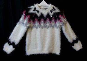 Girls-Matalan-White-Silver-Black-Sparkly-Xmas-Tinsel-Fluffy-Jumper-Age-6-Years