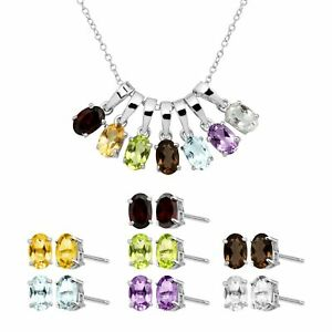 Natural-Multi-Stone-Pendant-amp-Earring-Box-Set-of-7-in-Sterling-Silver