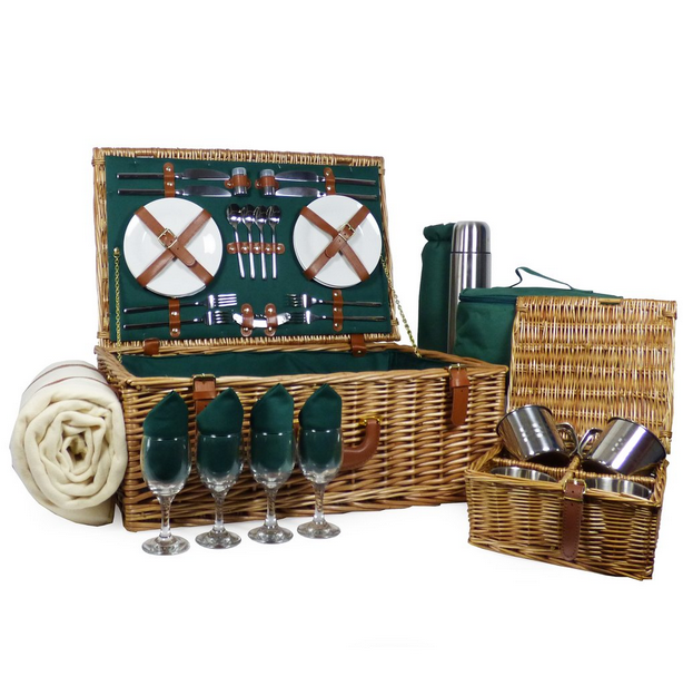 Deluxe Regal 4 Person Wicker Picnic Basket with Accessories