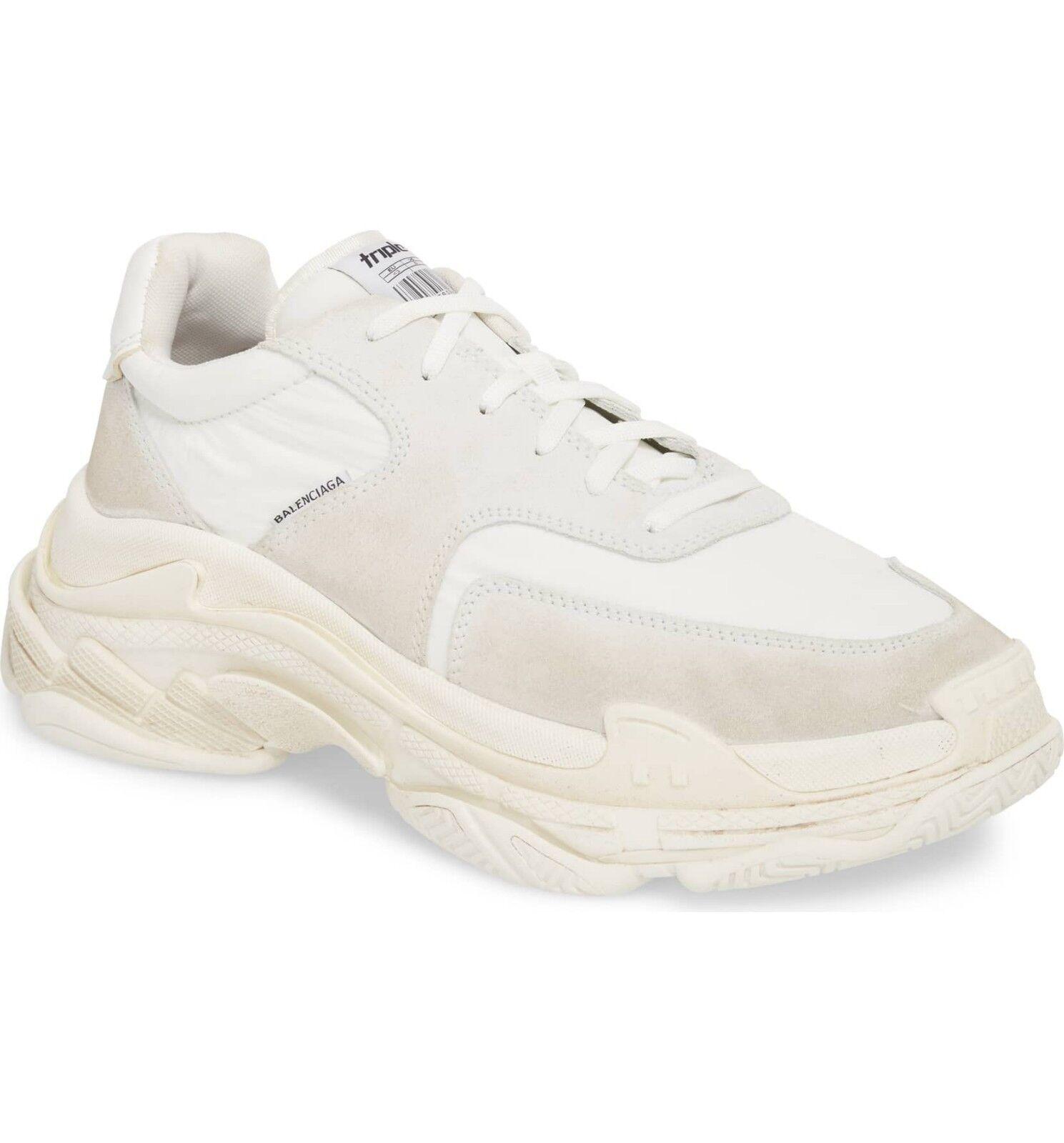BALENCIAGA Men's Triple S Retro Sneaker Size US12 white White