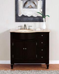 38-inch Travertine Top Bathroom Single Vanity Cabinet Sink ...