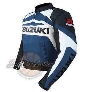 New SUZUKI GSX Motorbike Biker Racing NAVY BLUE Leather Jacket for motorcyclist