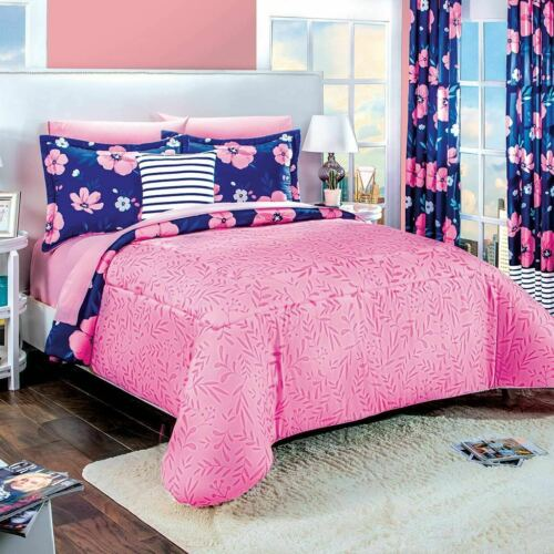 Blue and Pink Reversible Floral Comforter Set Queen Size Soft and Warm 4PCS