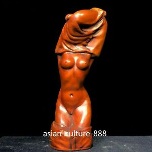 Chinese Collectible Old Boxwood Carved Naked Belle Half Squat Ornament Statue