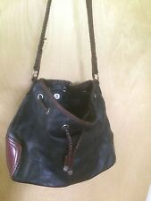 Fossil 75082 Brown and Black Leather Shoulder Bag Bucket Purse
