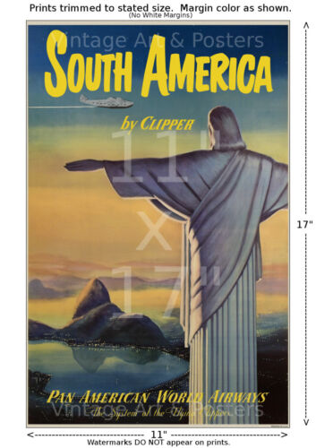 Vintage Airline Travel Poster 11x17 inches Pan Am South America #1